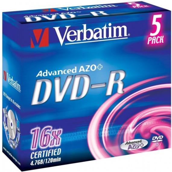 VERBATIM DVD-R 4.7 GO 16X (PAR 5, BOITE)