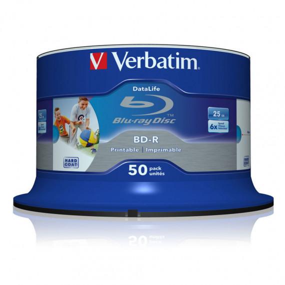VERBATIM BD-R SL 25 GO VITESSE 6X IMPRIMABLE (PAR 50, SPINDLE)