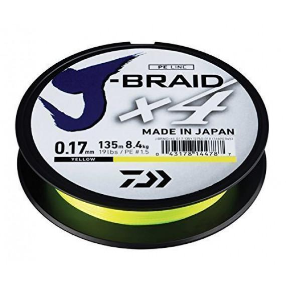 Daiwa J-Braid X4 Fil de pêche unisexe pour adulte Jaune 0,10mm 135m