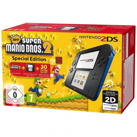 Nintendo Nintendo 2DS Noire / Bleue + New Super Mario Bros. 2 - Console Nintendo 2DS + carte mémoire SDHC 4 Go + Adaptateur secteur + New Super Mario Bros. 2