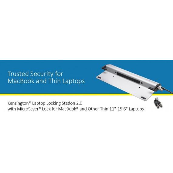 Kensington Laptop Locking Station 2.0 + MicroSaver - Station de verrouillage pour ordinateur portable avec câble antivol