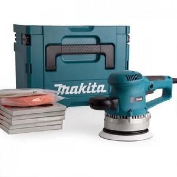 Makita Ponceuse excentrique BO6030JX1 150 mm 310 W avec 53 accessoires et coffret Makpac