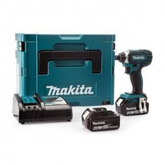 Makita Visseuse à chocs avec 2 batteries 18V 4Ah Li-ion et coffret Makpac
