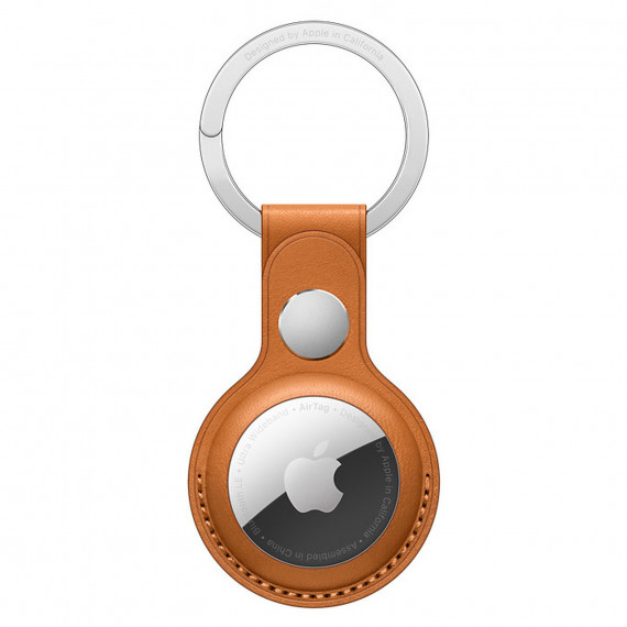 APPLE AIRTAG LEATHER KEY RING GOLDEN BROWN-ZML