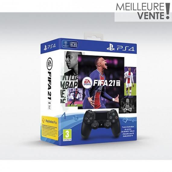 SONY Manette + Jeu  Dual Shock 4 Noire V2+FIFA 21+Vch FU