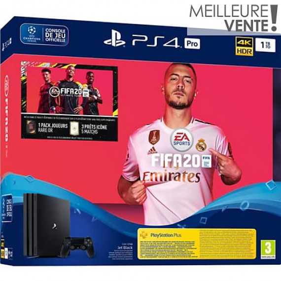 SONY Console PS4  Pro 1 To Noire Fifa 20 +Abo PS+ 14 jours