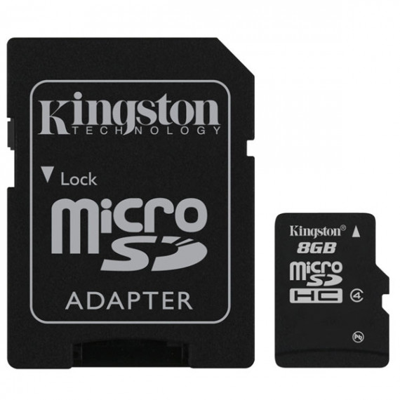KINGSTON Carte mémoire microSDHC classe 4 8 Go avec adaptateur SD (garantie 10 ans par Kingston)