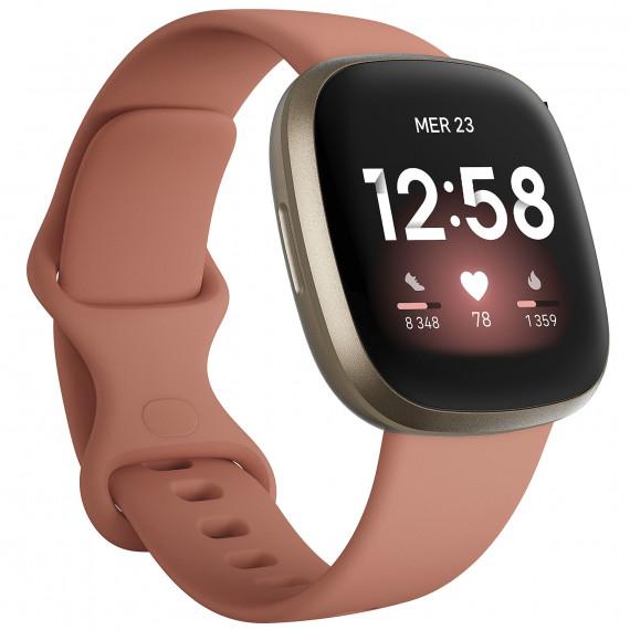 Fitbit Montre connectée  Versa 3 Or et Argile