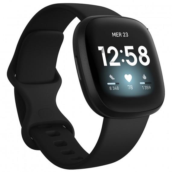 Fitbit Montre connectée  Versa 3 Noire