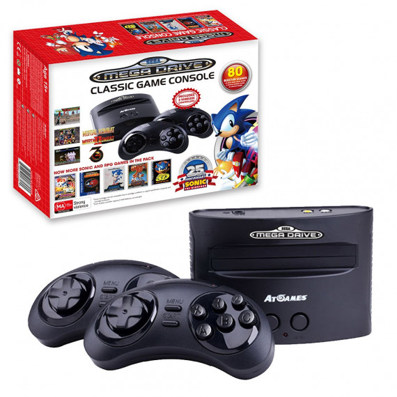 Sega SEGA Megadrive Classic Game Console - Console de salon SEGA Megadrive + 2 manettes sans fil + 80 jeux