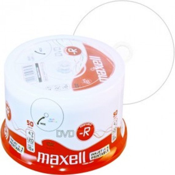 DVD-R 4,7 Go Maxell 16x vitesse imprimable Encre en cakebox 50