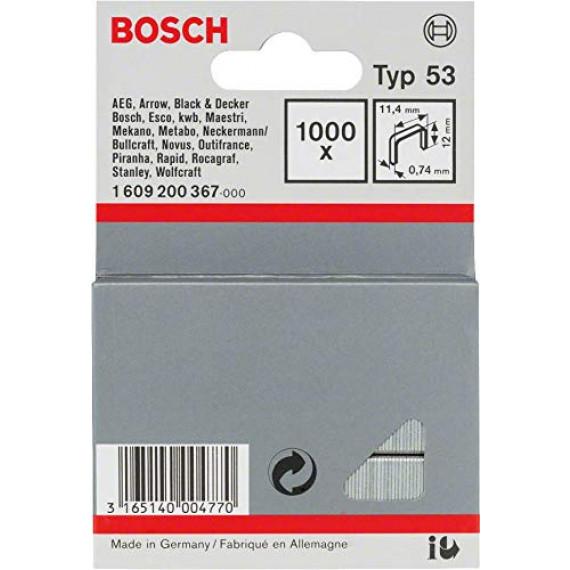Bosch Professional Bosch 1609200367 Agrafes 12 / 11,4 mm 1000 pièces Type 53