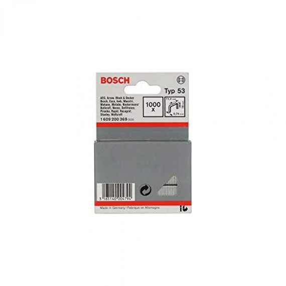Bosch Professional Bosch 1609200369 Agrafe à fil fin de type 53 11,4 x 0,74 x 18 mm 1000 pièces