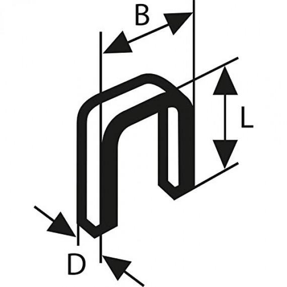Bosch Professional Agrafe à Dos Étroit type 55 Résinée, 6mm x 1.08mm x 26mm, Lot de 1000
