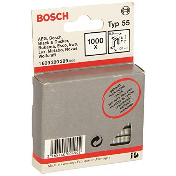 Bosch Professional Bosch 1609200389 Agrafe à dos étroit Type 55 résinée 6 x 1,08 x 19 mm 1000 pièces