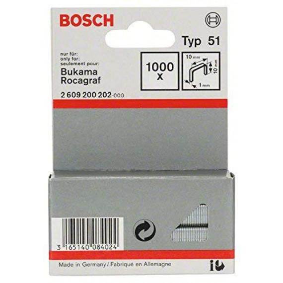 Bosch Professional Bosch 2609200202 Agrafe à fil plat de type 51 10 x 1 x 10 mm 1000 pièces