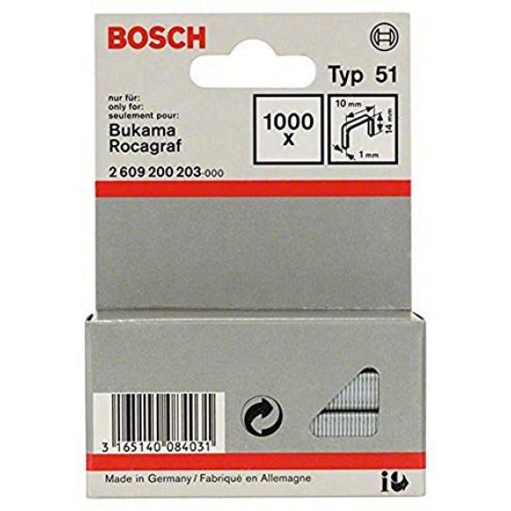 Bosch Professional Bosch 2609200203 Agrafes 14 / 10 mm 1000 pièces Type 51