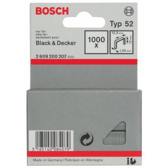 Bosch Professional Bosch 2609200207 Agrafes 12 / 12,3 mm 1000 pièces Type 52
