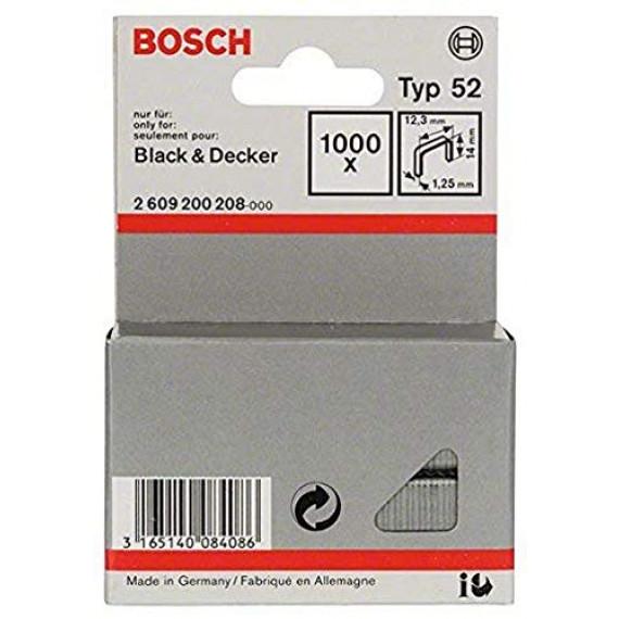Bosch Professional Bosch 2609200208 Agrafe à fil plat de type 52 12,3 x 1,25 x 14 mm 1000 pièces