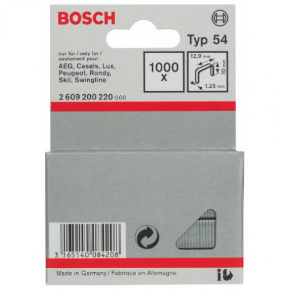 Bosch Professional Agrafe à Fil Plat de Type 54, 12.9mm x 10mm, Lot de 1000