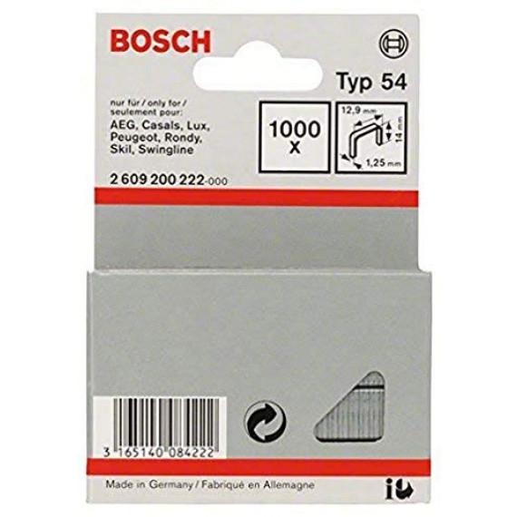 Bosch Professional Bosch 2609200222 Agrafes 14 / 12,9 mm 1000 pièces Type 54
