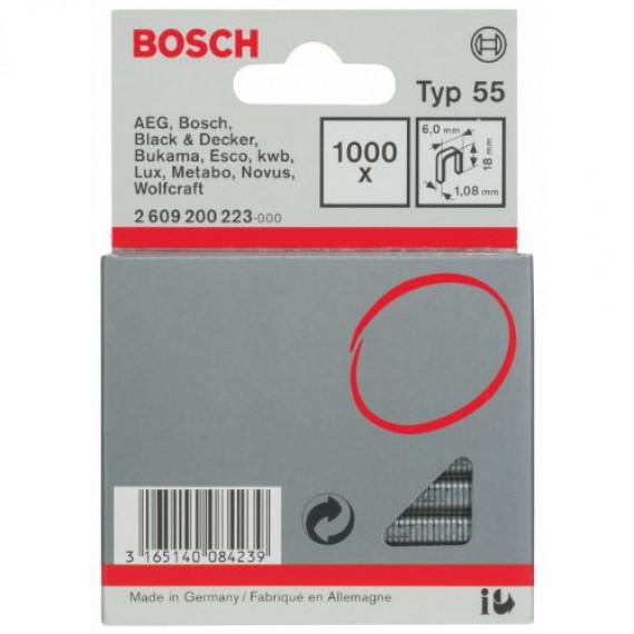 Bosch Professional Agrafe à Dos Étroit de Type 55, 6mm x1.08mm x18mm, Lot de 1000