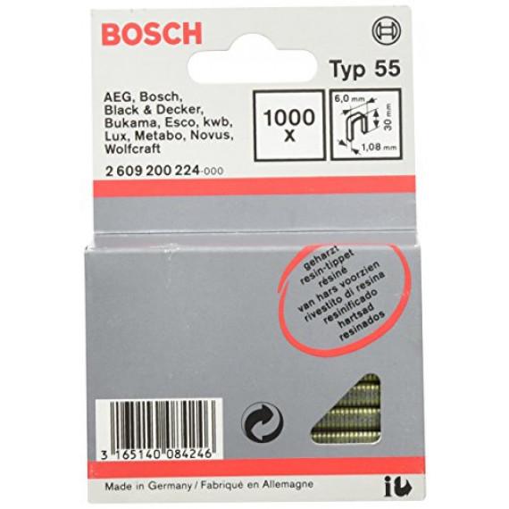 Bosch Professional Bosch 2609200224 Agrafe à dos étroit type 55 résinée 6 x 1,08 x 30 mm, 1000 pièces