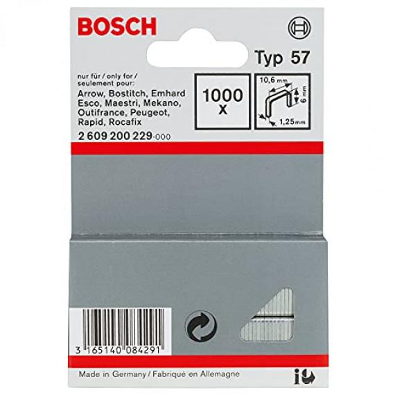 Bosch Professional Bosch 2609200229 Agrafe à fil plat de type 57 10,6 x 1,25 x 6 mm 1000 pièces