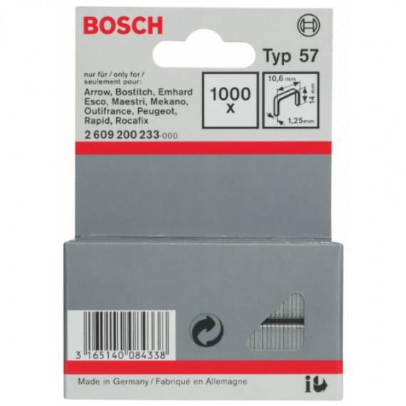 Bosch Professional Bosch 2609200233 Agrafe à fil plat de type 57 10,6 x 1,25 x 14 mm 1000 pièces