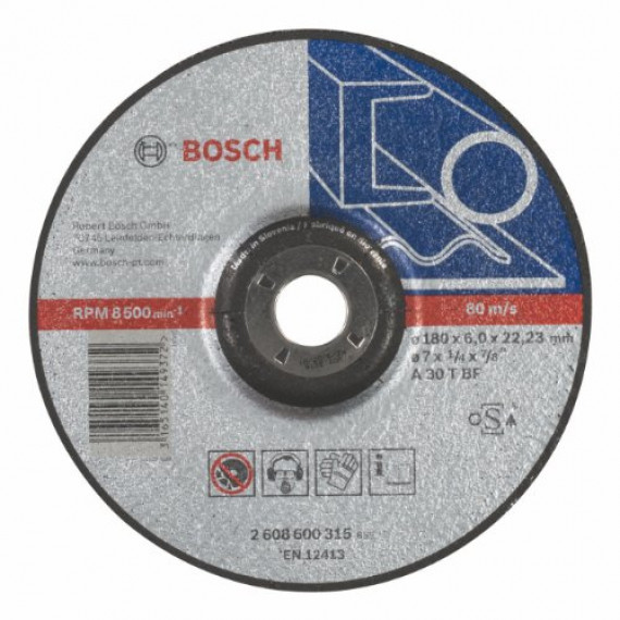 Bosch Professional 2608600315 Meule, Grey, 180 mm 6,0 mm