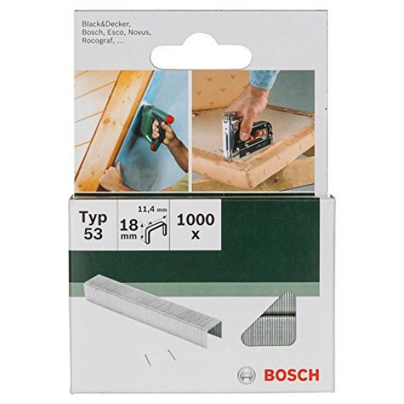 Bosch Professional Bosch 2609255824 Agrafes à fil fin type 53 Largeur 11,4 mm Epaisseur 0,74 mm Longueur 18 mm 1000 pièces