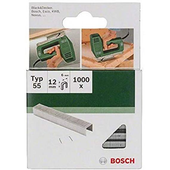 Bosch Professional Bosch 2609255825 Set de 1000 agrafes à dos étroit Type 55 Largeur 6 mm Epaisseur 1,08 mm Longueur 12 mm