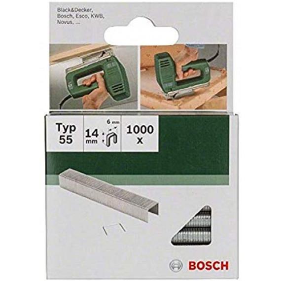 Bosch Professional Bosch 2609255826 Set de 1000 agrafes à dos étroit Type 55 Largeur 6 mm Epaisseur 1 mm Longueur 14 mm