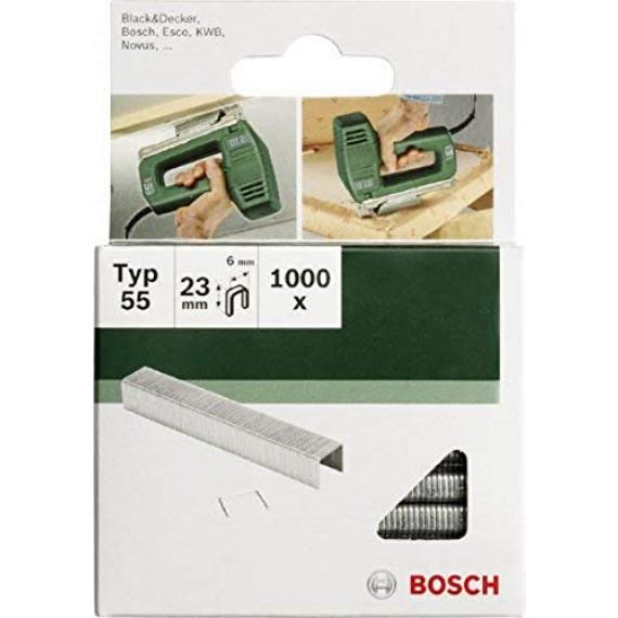 Bosch Professional Bosch 2609255828 Set de 1000 agrafes à dos étroit Type 55 Largeur 6 mm Epaisseur 1,08 mm Longueur 19 mm
