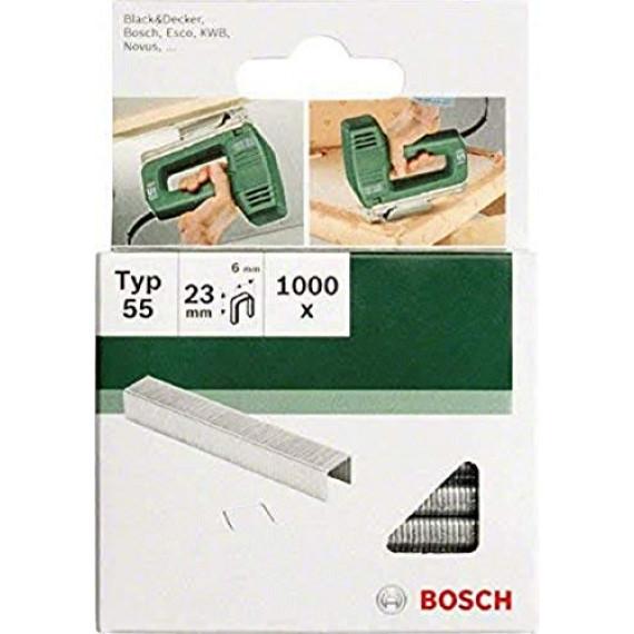 Bosch Professional Bosch 2609255829 Set de 1000 agrafes à dos étroit Type 55 Largeur 6 mm Epaisseur 1,08 mm Longueur 23 mm