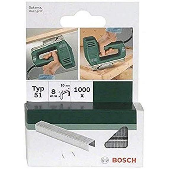 Bosch Professional Bosch 2609255832 Set de 1000 agrafes à fil plat Type 51 Largeur 10 mm Epaisseur 1 mm Longueur 8 mm