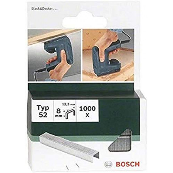 Bosch Professional Bosch 2609255835 Set de 1000 agrafes à fil plat Type 52 Largeur 12,3 mm Epaisseur 1,25 mm Longueur 6 mm