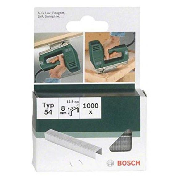 Bosch Professional Bosch 2609255840 Set de 1000 agrafes à fil plat Type 54 Largeur 12,9 mm Epaisseur 1,25 mm Longueur 8 mm