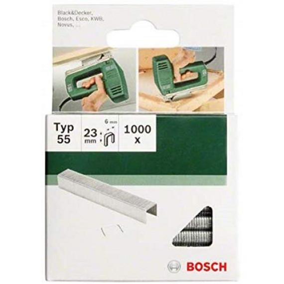 Bosch Professional Bosch 2609255844 Set de 1000 agrafes à fil plat Type 55 Largeur 6 mm Epaisseur 1,08 mm Longueur 18 mm