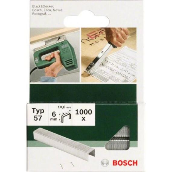 Bosch Professional Bosch 2609255845 Set de 1000 agrafes à fil plat Type 57 Largeur 10,6 mm Epaisseur 1,25 mm Longueur 6 mm