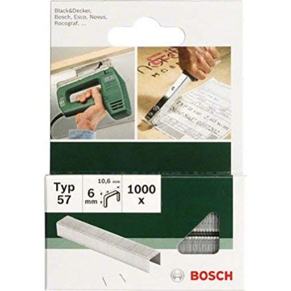 Bosch Professional Bosch 2609255847 Set de 1000 agrafes à fil plat Type 57 Largeur 10,6 mm Epaisseur 1,25 mm Longueur 10 mm