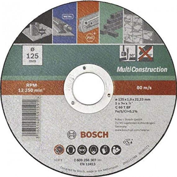 Bosch Professional Bosch 2609256307 Disque à tronçonner à moyeu plat Multi Construction Diamètre 125 mm Diamètre d'alésage 22/23 mm Epaisseur 1 mm