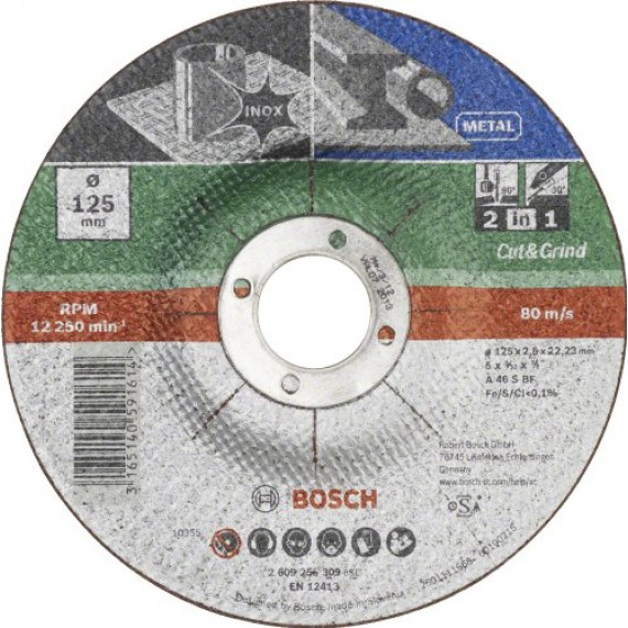 Bosch Professional Bosch 2609256309 Disque à tronçonner et à ébarber, à moyeu déporté pour Métaux et inox Diamètre 125 mm Diamètre d'alésage 22/23 mm Epaisseur 2,5 mm