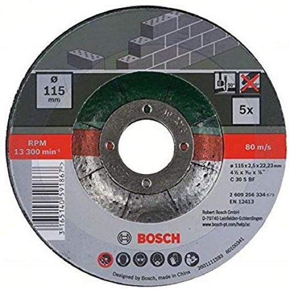 Bosch Professional Bosch 2609256334 Assortiment de disques à tronçonner à moyeu déporté pour Matériaux Diamètre 115 mm Diamètre d'alésage 22,23 Epaisseur 2,5 mm 5 disques