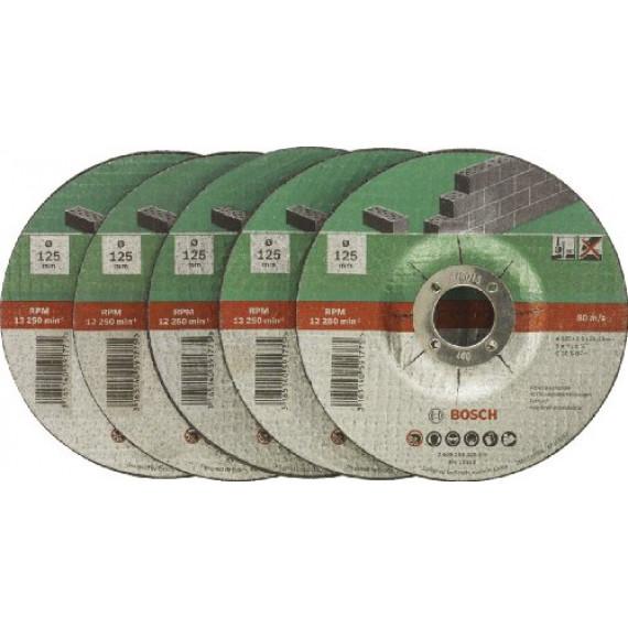 Bosch Professional Bosch 2609256335 Assortiment de disques à tronçonner à moyeu déporté pour Matériaux Diamètre 125 mm Diamètre d'alésage 22,23 Epaisseur 2,5 mm 5 disques