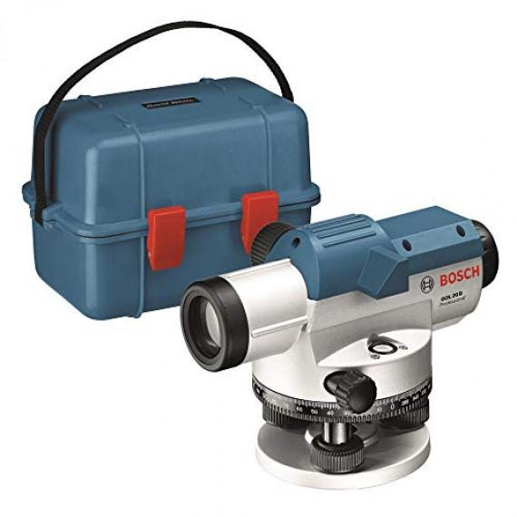 Bosch Professional Niveau optique GOL 20 D (grossissement 20x, unité de mesure : 360 degrés, portée : jusqu'à 60 m, dans un coffret de transport)