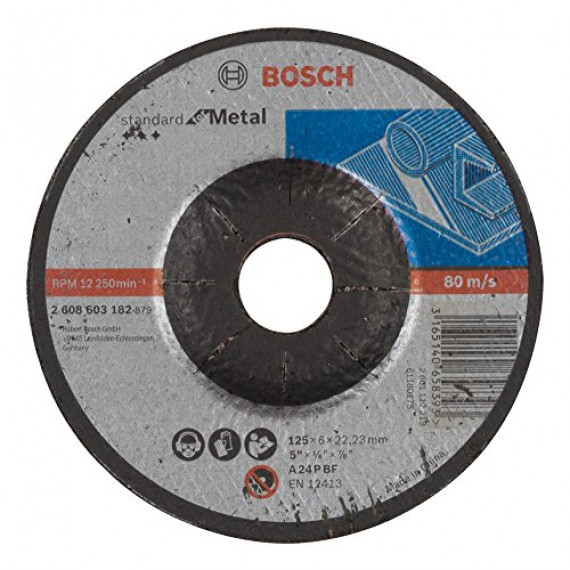 Bosch Professional Bosch 2608603182 Meule à ébarber à moyeu déporté standard for metal A 24 P BF 125 mm 22,23 mm 6,0 mm