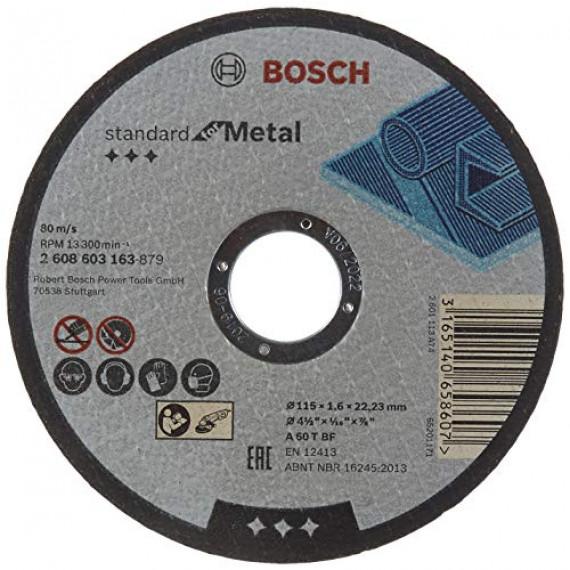 Bosch Professional Bosch 2608603163 Disque à tronçonner à moyeu plat standard for metal A 60 T BF 115 mm 22,23 mm 1,6 mm