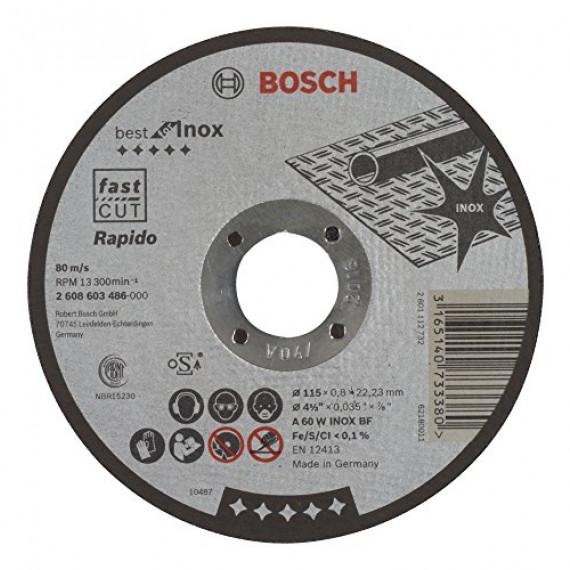 Bosch Professional Bosch 2608603486 Disque à tronçonner à moyeu plat best for inox rapido A 60 W inox BF 115 mm 0,8 mm