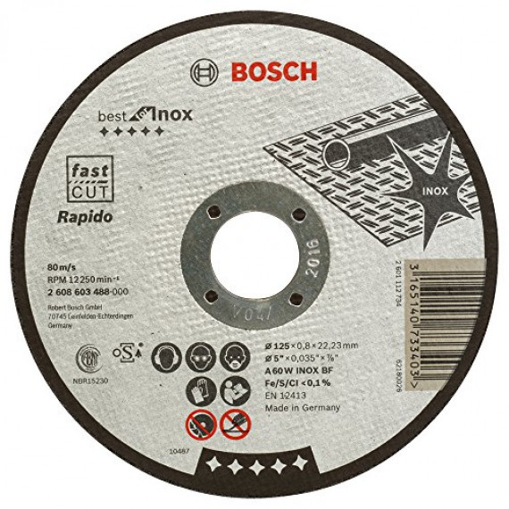 Bosch Professional Bosch 2608603488 Disque à tronçonner à moyeu plat best for inox rapido A 60 W inox BF 125 mm 0,8 mm